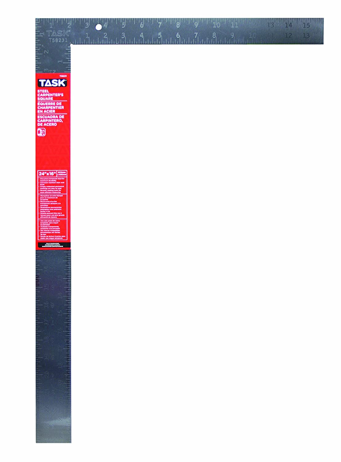 Task Tools T58231 24 Inch Steel Carpenter Square Embossed Markings