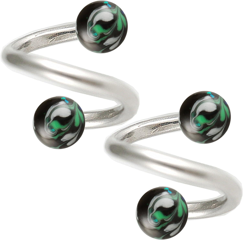 bodyjewellery Spiral Cartilage Earring Hoop Tragus Helix 16g 5/16 2pcs Pick Your h gauges Ear Twister Eyebrow Bars Piercing BECH