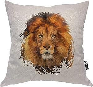 "Moslion Lion Pillow Office Decorative Throw Pillow Cover Lion Head Watercolor Square Cushion Cover Pillow Cases for Men Women Boys Sofa Bedroom Livingroom 18""x18"",Brown"