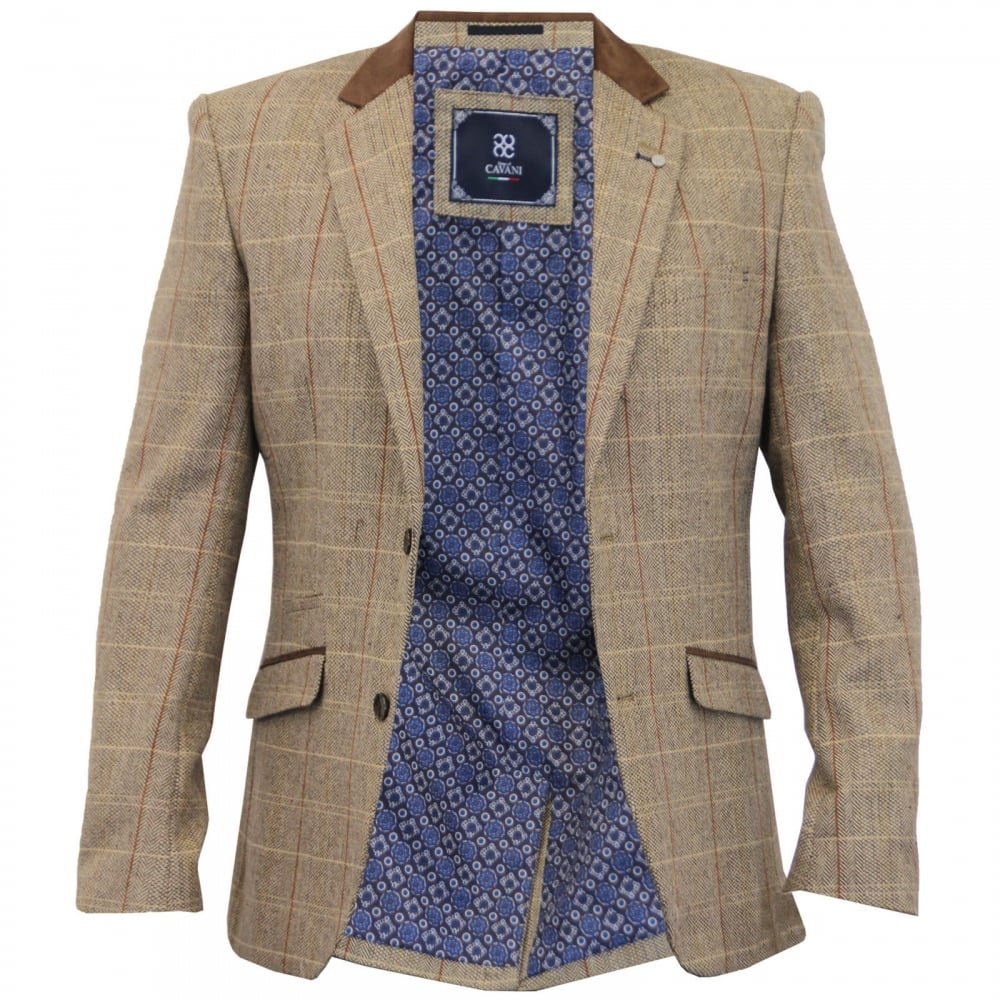Cavani Mens New Baron Tweed Slim Fit Blazer Tan Check