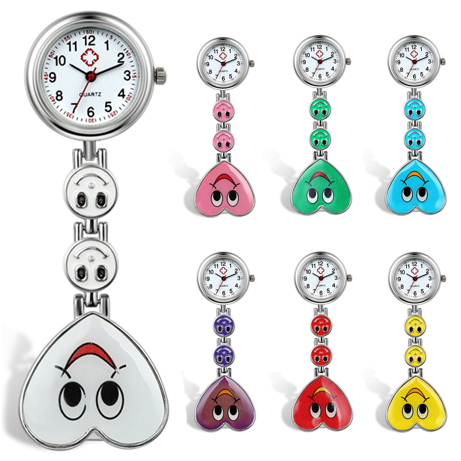 Womens Nurses Watch 7Pcs Cute Candy Color Smile Heart Face Clip-on Medical Doctors Lapel Clasp Pocket Watch by Lancardo