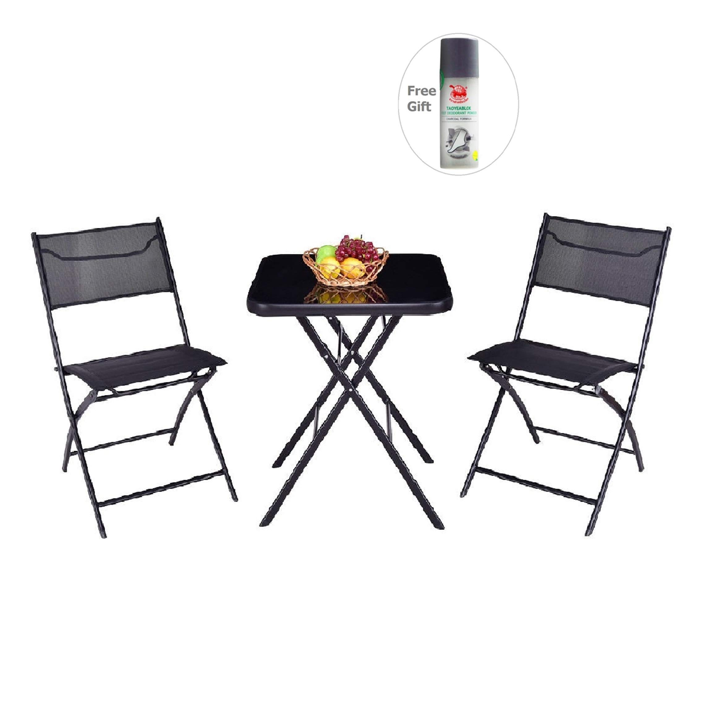 Outdoor Patio 3 Pieces Folding Square Table And Chair Suit Set