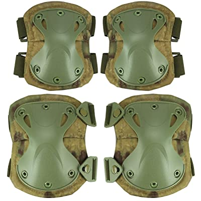 Aoutacc Tactical Combat Knee & Elbow Protective Pads Set for Outdoor CS Paintball Game Cycling Safety Skateboarding Gear Skates Knee Protection Guard Pads (FG) : Sports & Outdoors