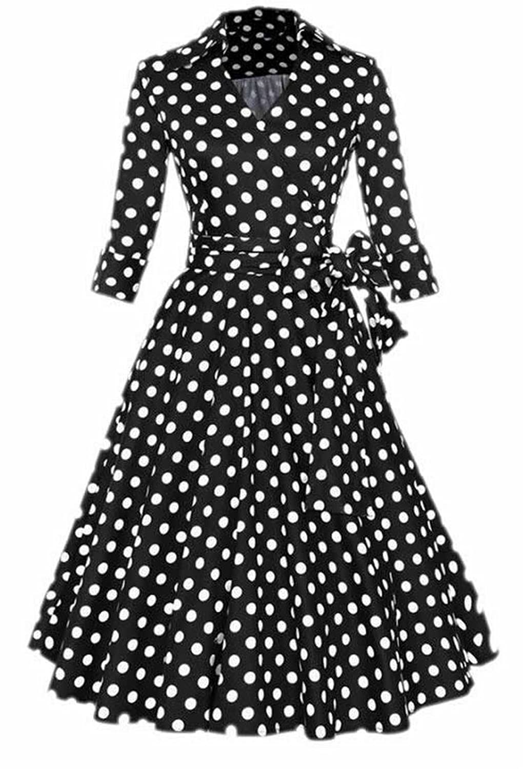 EKU Womens Vintage Polka Dot Swing Dress Flared Dress