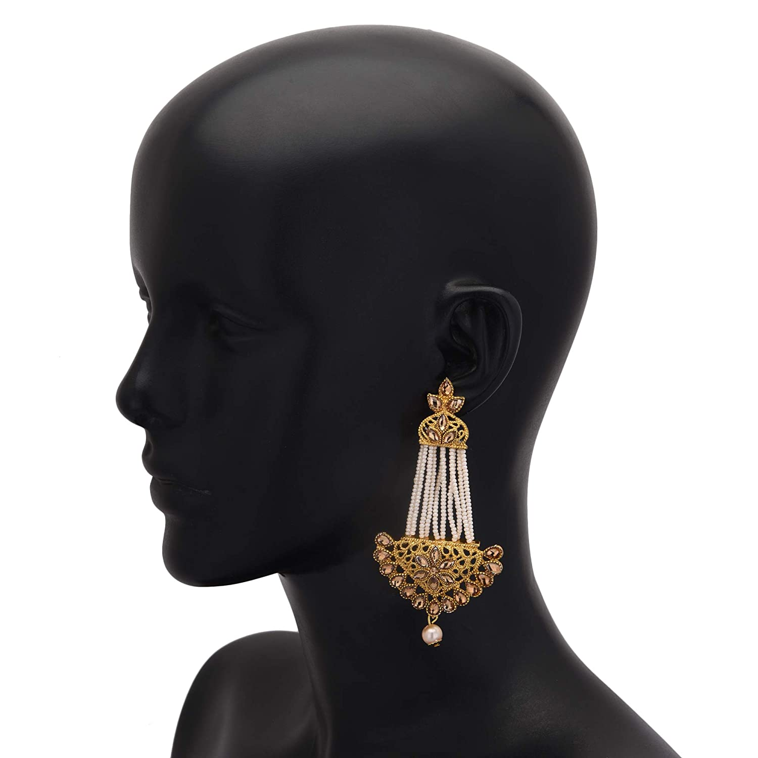 Jwellmart Indian Ethnic Partywear Traditional Gold Plated Jhumka CZ Earrings for Women and Girls