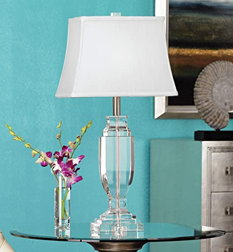 Modern Glam Table Lamp Solid Clear Crystal Glass Urn Brushed Steel Rectangular Fabric Shade Decor