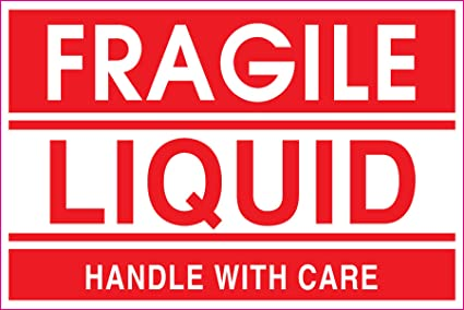 amazon com adhesive label preprinted fragile liquid shipping label