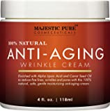 Majestic Pure Anti Aging Cream for Woman and Men, 100% Natural Night Cream, Safe and Gentle, Reduces the Appearance of Wrinkles, 4 fl oz