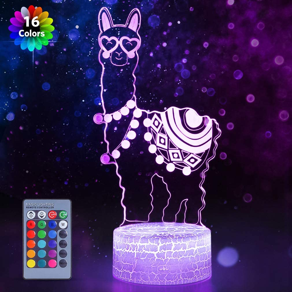 Alpaca Llama 3D Optical Illusion Lamp,16 Colors Change with Remote & Touch Control Kid Night Light Home Office Bedroom Decor As Birthday Christmas Gift Ideas for Boys