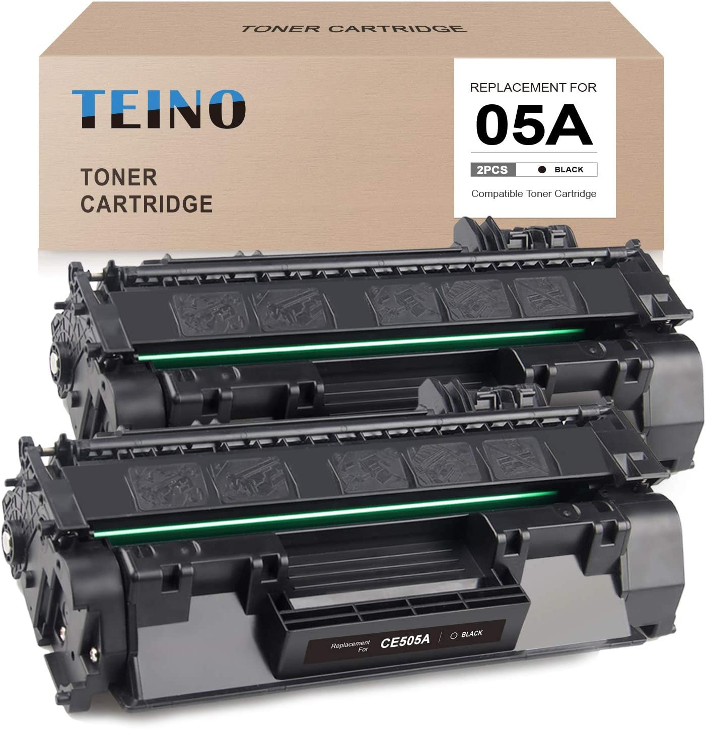 TEINO Compatible Toner Cartridge Replacement for HP 05A CE505A use with HP Laserjet P2055dn P2035 P2035n P2055d P2055x (Black, 2-Pack)