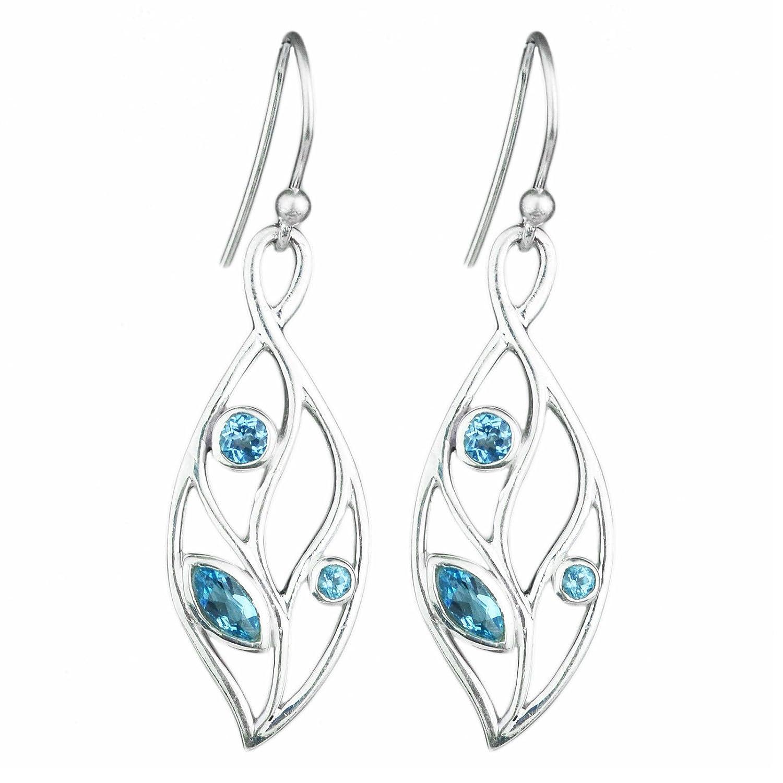 Blue Topaz gemstone 925 sterling silver dangle earrings 3.88 gms