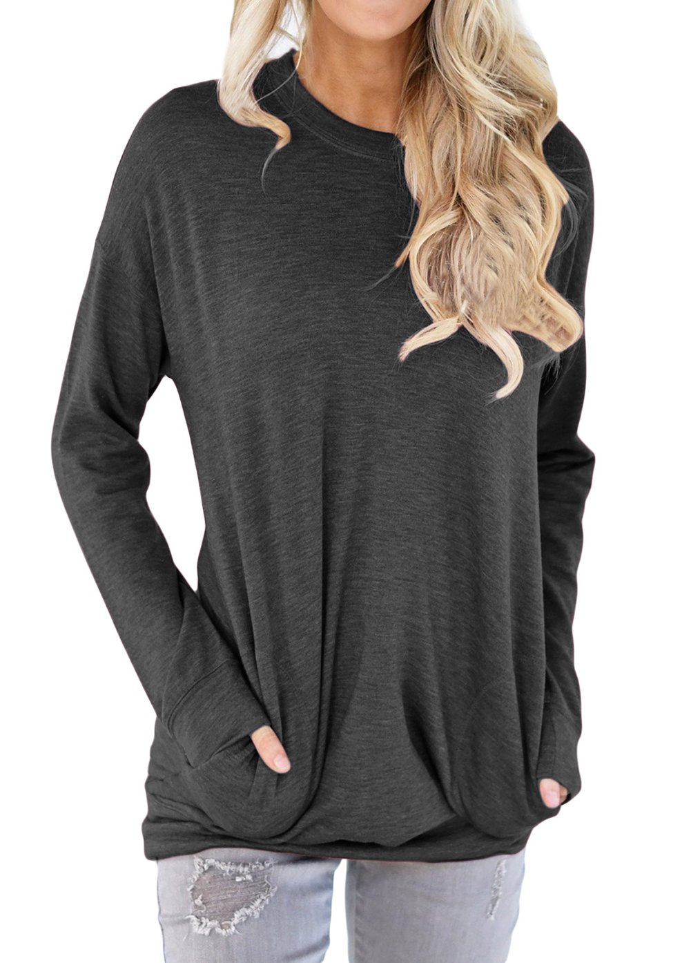 Shawhuwa Womens Long Sleeve Sweatshirt Loose T-Shirt Blouses Tops L Black