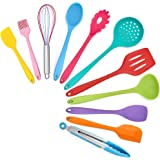 TeamFar Kitchen Utensils, 11 PCS Silicone Cooking Utensils Spatula Set Heat Resistant For Nonstick Cookware, Perfect for Cook