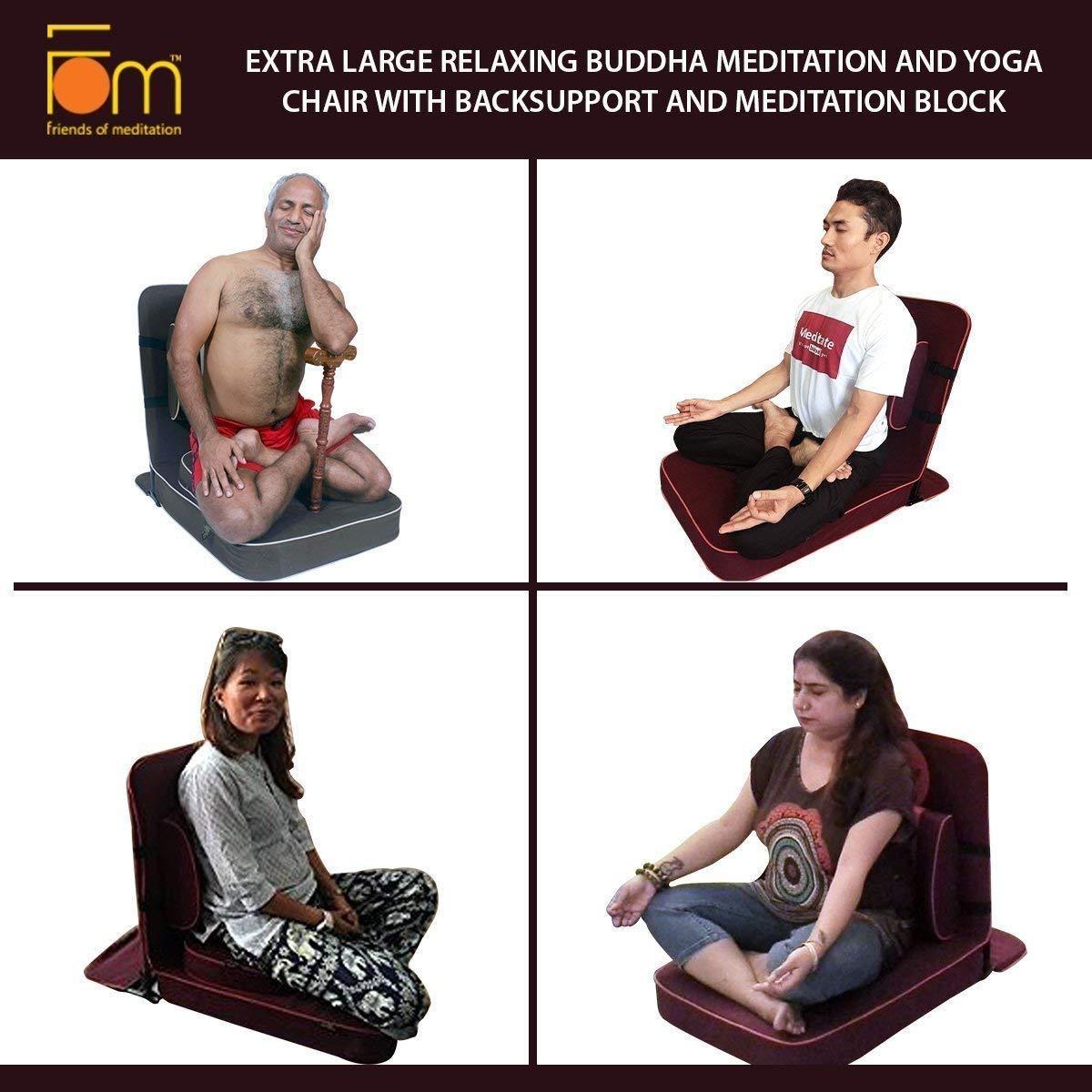 Marineblau Gr/ö/ße XL mit R/ückenst/ütze und Meditationsblock Friends of Meditation Buddha Meditations- und Yoga-Stuhl