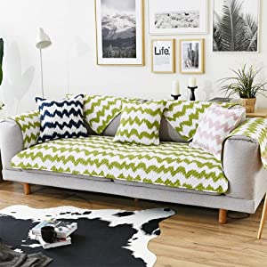 GWW Geometric Sofa Cover,Quilted Cotton Couch Covers for Sofa Recliner Chair,Multi Size Furniture Protector for Dogs Kids-D 110x160cm(43x63inch)