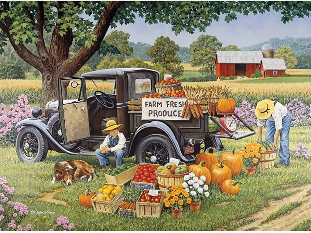 Bits and Pieces - 2000 Piece Jigsaw Puzzle for Adults - Home Grown - 2000 pc Fall on The Farm Jigsaw by Artist John Sloane