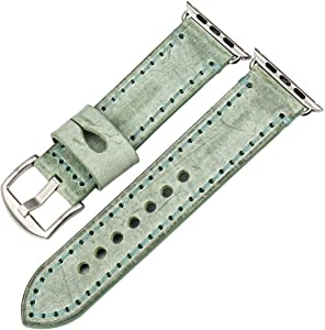 REZERO Bridle Leather Watch Strap Replacement forApple Watch 44mm 40mm 42mm 38mm Series 4 3 2 1 iWatch Watchbands Compatible with Apple Watch Band (42mm, Green+Silver Buckle)