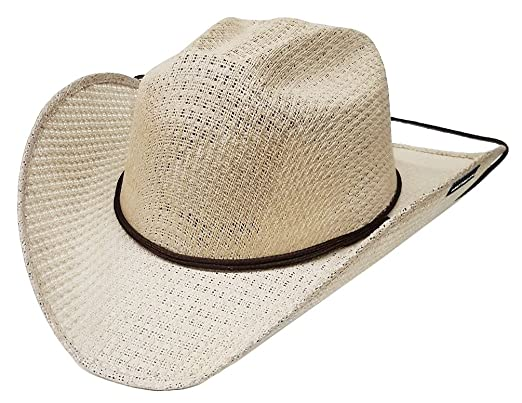 b62c0e8f3d63ed Image Unavailable. Image not available for. Colour: Modestone Unisex Straw  Cowboy Hat Chinstring Beige