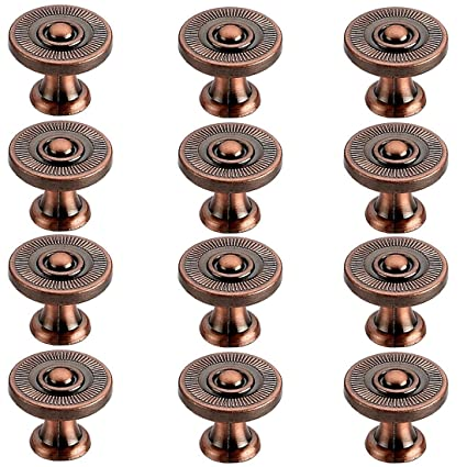 Xshion 12 Pack Drawer Pulls Retro Cabinet Knobs Round Cabinet Cupboard Dresser Door Pull Knobs Vintage Hardware Knobs And Pulls Red Copper Amazon Com