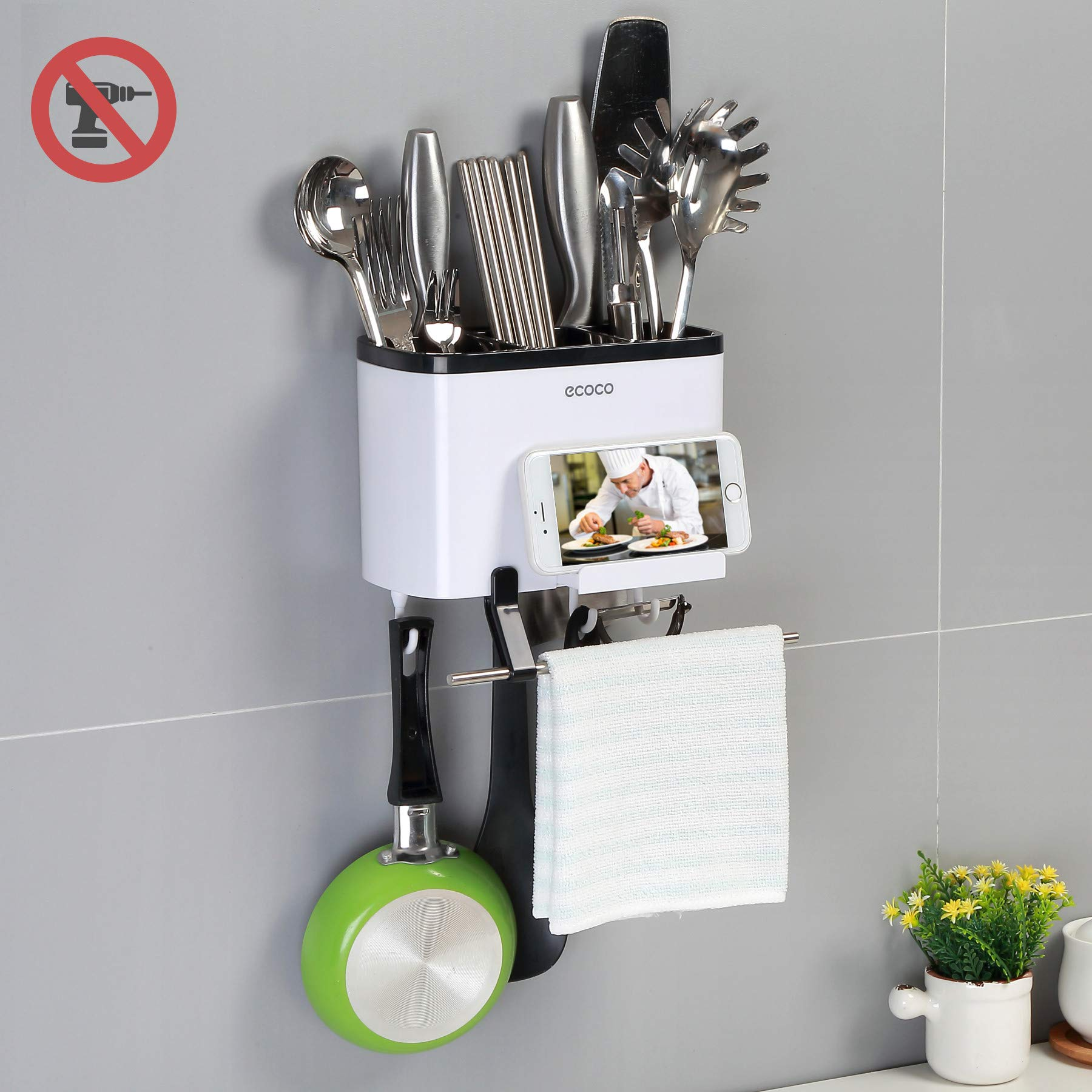 Utensils Holder Caddy, Strong Self Adhesive Wall Mounted Kitchen Utensil Holder & Utensil Organizer with Stainless Steel Towel Bar & Removable Hooks - Phone Holder, Drain Holes