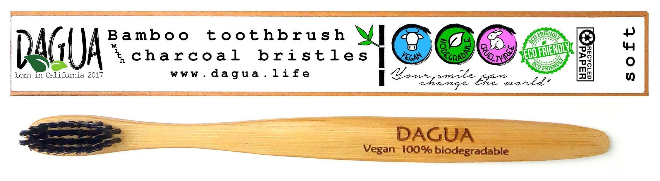DAGUA Eco-friendly Bamboo Toothbrush with Charcoal Bristles