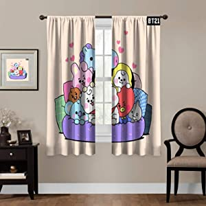 Kpop Blackout Curtains,BTS Cute ,Living Room Bedroom Window Drapes Panels Set of 2 with Rod Pocket,Soundproof Shade Curtains,for Boys and Girls Room Décor, 63x63 inches
