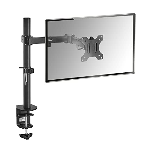 "VonHaus Monitor Mount for 13-27"" Screens   Single Arm Desk Stand Bracket with Clamp   Ergonomic 180° Tilt, 360° Rotation & 360° Swivel Arm   VESA Dimensions: 75x75-100x100"