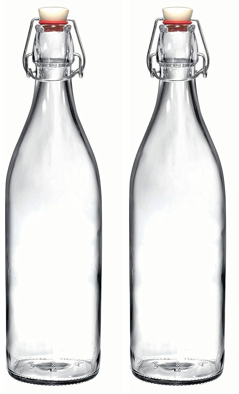 CNSE - Juego de botellas de cristal Giara con tapón, para aceite, vinagre, bebidas, cerveza, agua, kombucha, kefir, soda: Amazon.es: Hogar