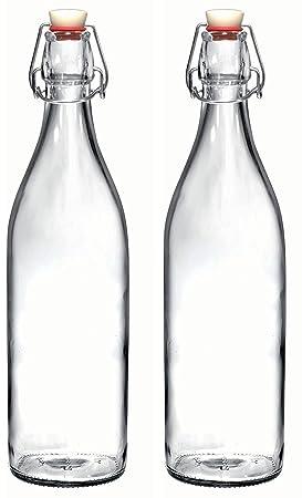 CNSE - Juego de botellas de cristal Giara con tapón, para aceite, vinagre,