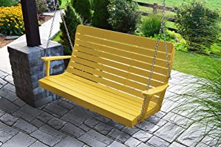 product image for Furniture Barn USA Outdoor 5 Foot Winston Porch Swing with Chain - Lemon Yellow Poly Lumber - Recycled Plastic