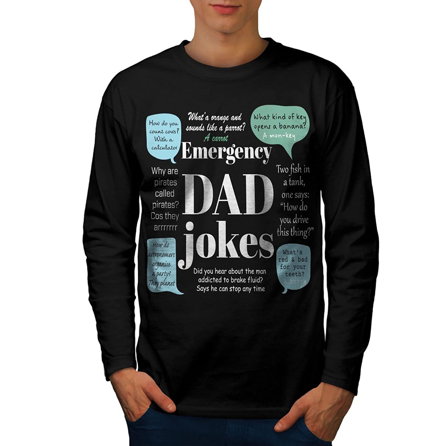 Amazon Wellcoda Bad Jokes Dad Puns Men S 2XL Long Sleeve T Shirt Clothing