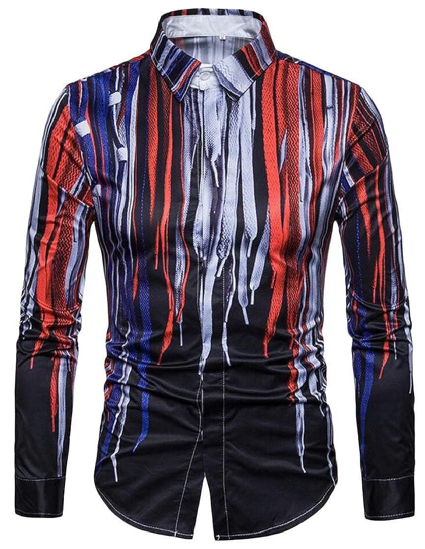 M/&S/&W Mens Print Slim Stylish Party Long Sleeve 3D Button Down Dress Shirts