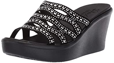 81ecba3afeb6 Skechers Women s Rumble UP-Funny Business-High Wedge Rhinestone Sandal