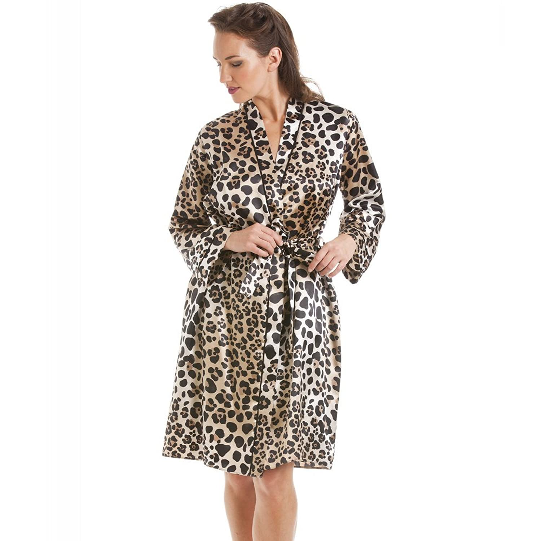 Robe de chambre en satin imprimé léopard femme Camille