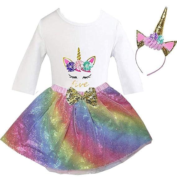5th Birthday Unicorn Shirt Outfit Dress /& Headband Girls Mint Tulle Tutu /& 1st