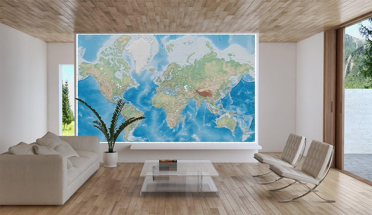 Fotomurales mappamondo   decorazioni pareti proiezione di miller ...