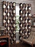 Srk Trendz 1 Piece Polyester Eyelet Curtain Window (Brown, 4 x 5)