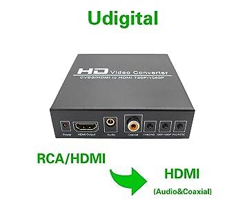 udigital 1080P RCA CVBS L/R Audio o Conversor de HDMI a HDMI Escalador Caja