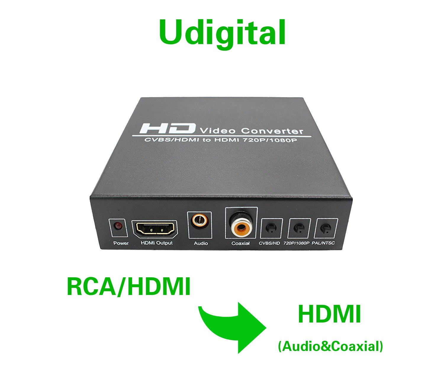 Udigital 1080P 3RCA CVBS  L/R Audio or HDMI to HDMI Converter Box with Coaxial and 3.5mm Audio Output Upscaler