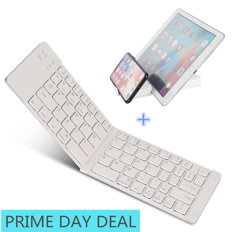 Bluetooth Folding Keyboard, IKOS Ultra Slim Pocket Size Foldable Keyboard For iOS/Android/Windows, iPad Mini, iPad Pro, iPhone, Smartphones, Windows, Smart TV, Tablets, With Rechargable Battery