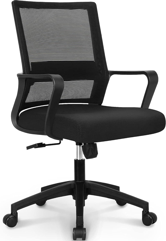 NEO CHAIR Office Swivel Desk Ergonomic mesh Adjustable Lumbar Support Computer Task Back armrest Home Rolling Women Adults Men Comfort Chairs Height Comfortable Gaming Modern (Black)