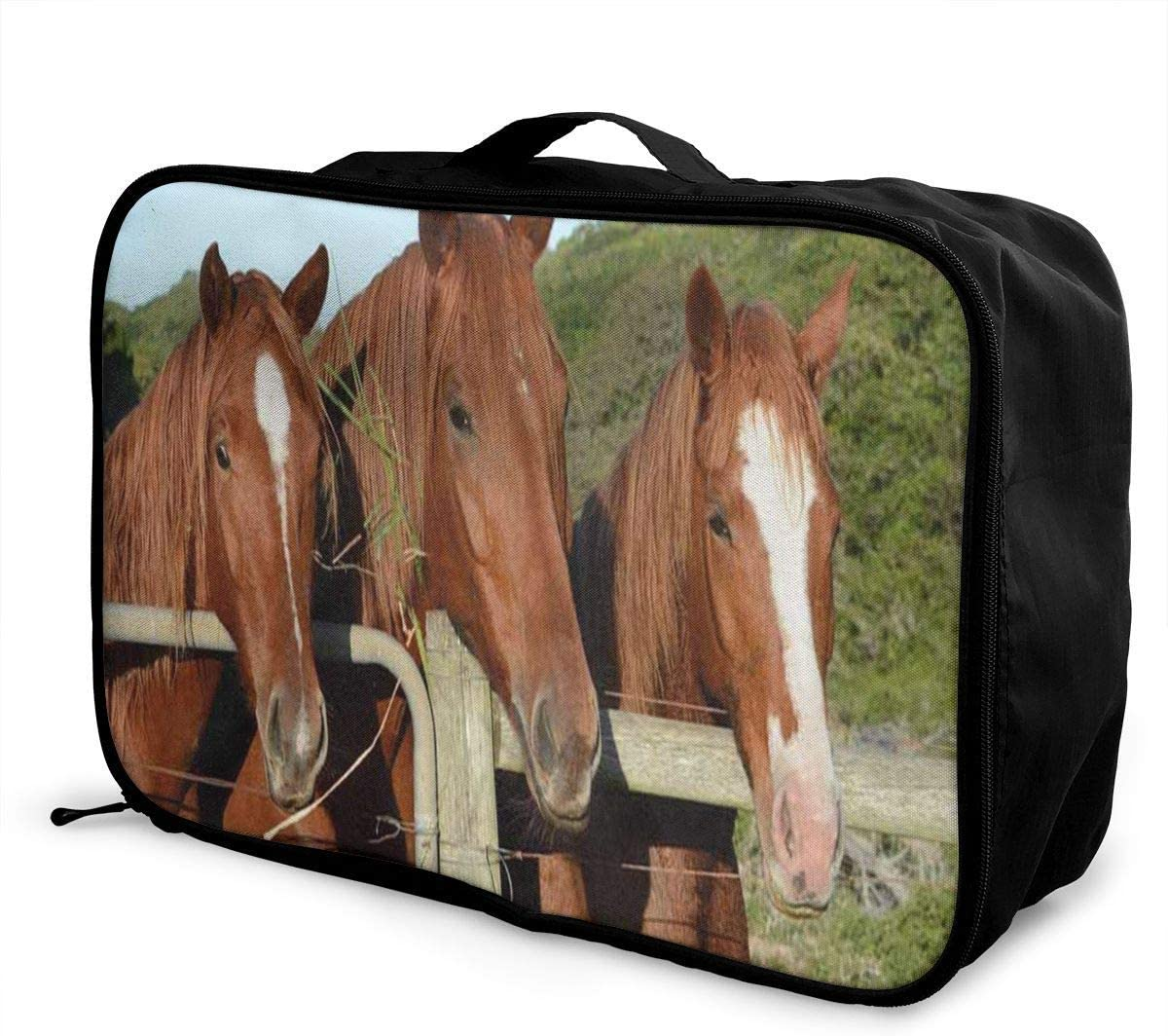 Travel Bags Three Chestnut Horses Portrait Portable Suitcase Trolley Handle Luggage Bag