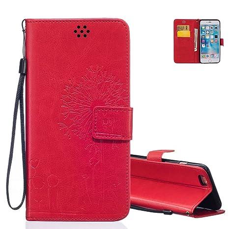 IPhone 6 Etui Coque Rouge AeequeR Pissenlit Et Amour Motif Portefeuille Housse De Protection