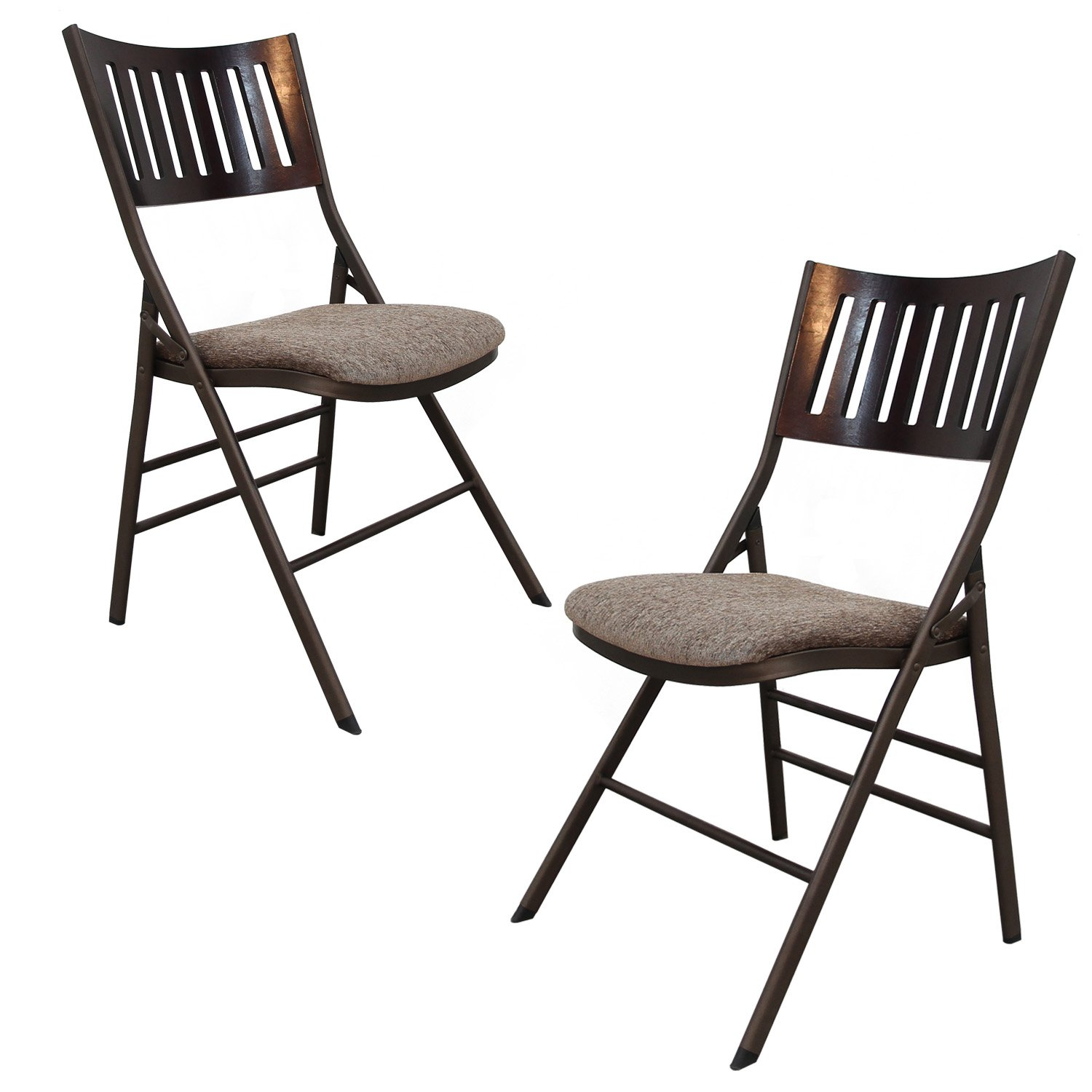 Adeco Steel Folding Chair - Brown Powder Coated Frame with Brown Fabric Seats- Height 18 Inch - Set of 2