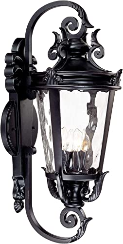 Casa Marseille Traditional Outdoor Wall Light Fixture Textured Black Scroll Arm 31″ Clear Hammered Gla