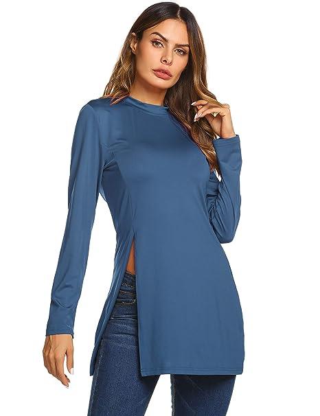 HAPLICA Women Casual Long Sleeve Side Split Slim Fit O-Neck Tunic Tops bbd4c5e13