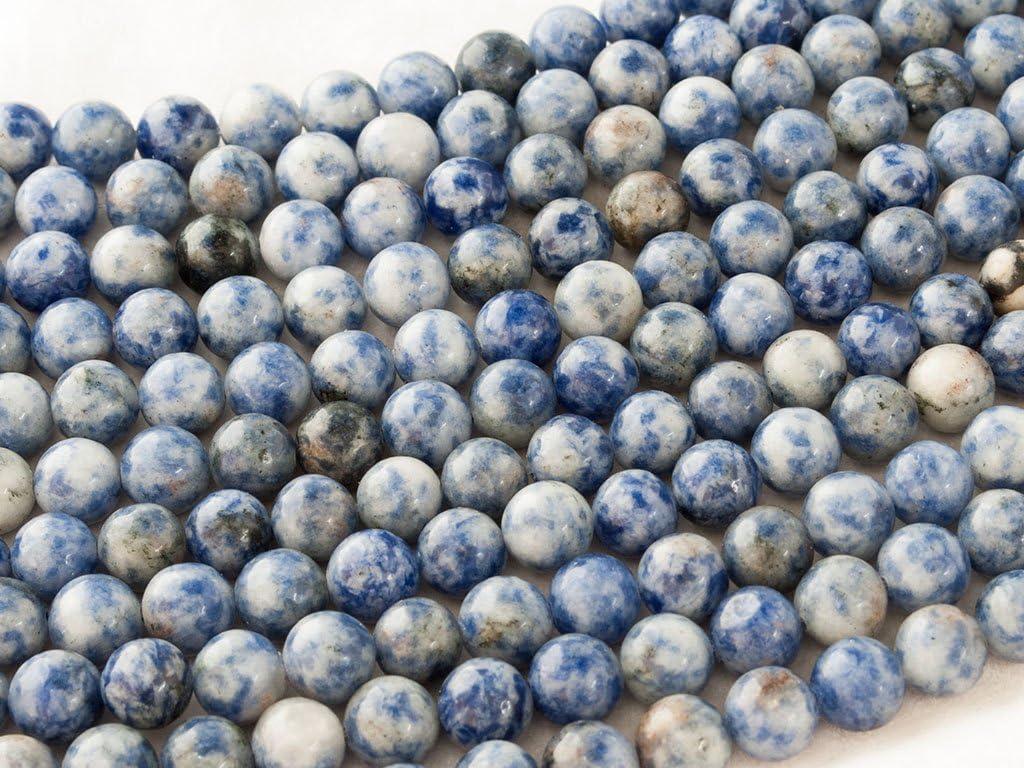 Beads Ok, Abalorios Cuentas Piedra Semipreciosa Jaspe Mancha Azul Naturales Esferas Bola Redonda 10mm Cerca de 38cm un Tira, Vendido por Tira. 10mm Round Natural Blue spot Jasper Gemstone Beads