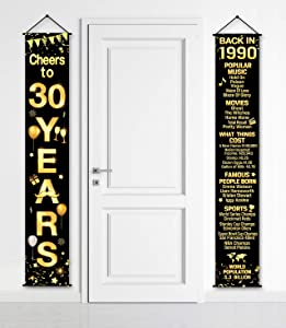 2 Pieces Birthday Party Decorations Cheers to Years Banner Party Decorations Welcome Porch Sign for Years Birthday Supplies (30th-1990)