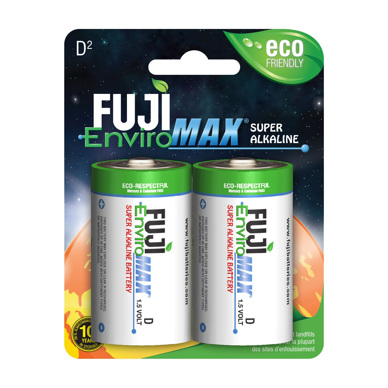 Fuji EnviroMAX Super Alkaline D Cell Eco Friendly Batteries (Pack of 96)