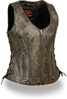 WOMEN'S MOTORCYCLE RIDERS DISTRESSED BROWN SOFT LEATHER VEST W/ SIDE LACES NEW ( Regular Regular M Regular)